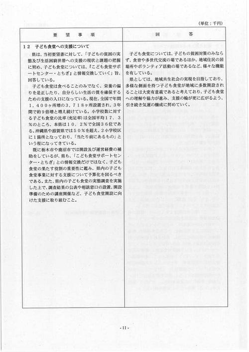 栃木県議会<民主市民クラブ>2019年度中間期 政策推進・予算化要望 知事回答14