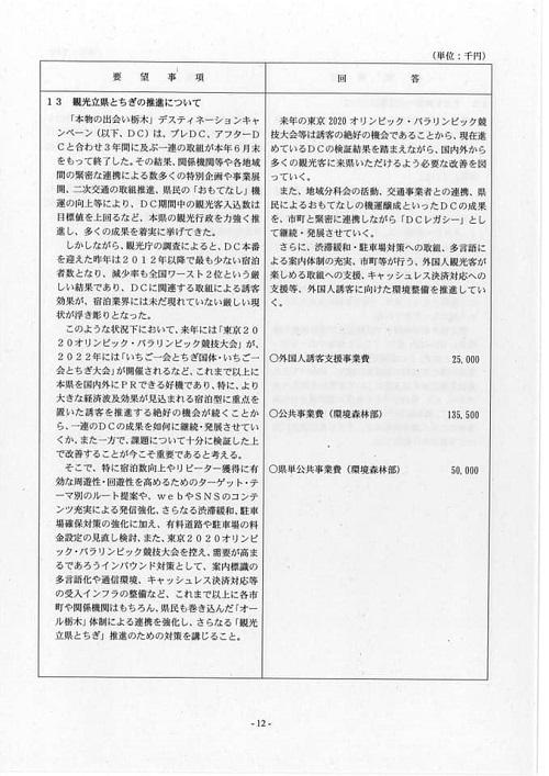 栃木県議会<民主市民クラブ>2019年度中間期 政策推進・予算化要望 知事回答15
