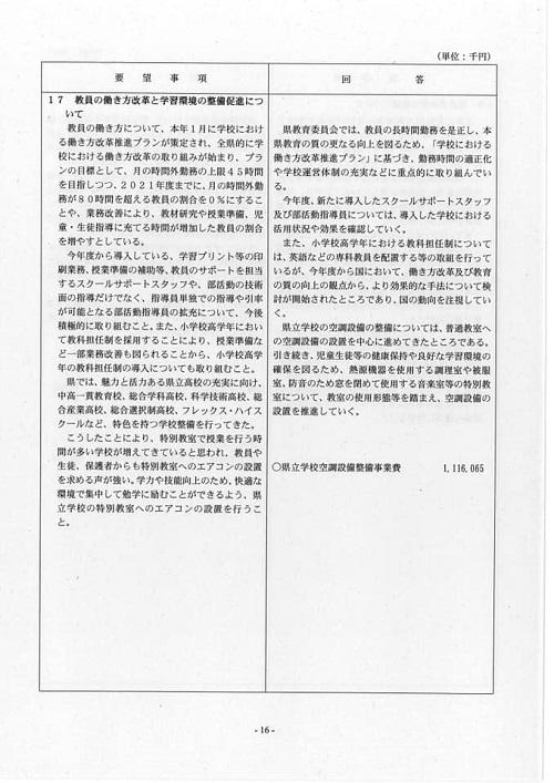 栃木県議会<民主市民クラブ>2019年度中間期 政策推進・予算化要望 知事回答19