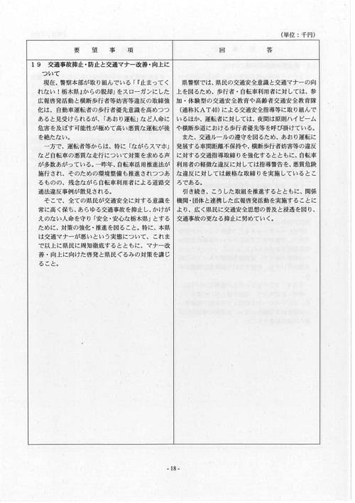栃木県議会<民主市民クラブ>2019年度中間期 政策推進・予算化要望 知事回答21