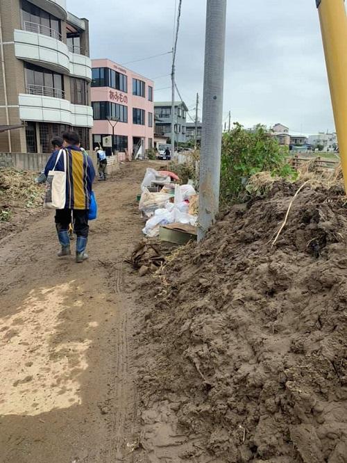 台風19号による田川氾濫の被害状況①