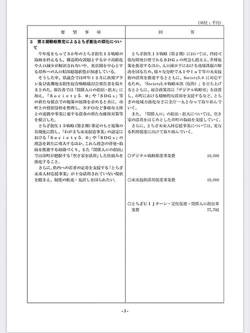 栃木県議会<民主市民クラブ>2020年度 政策推進・予算化要望 ⇒ 知事回答!07
