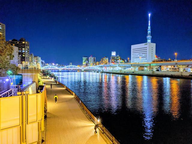 蔵前橋から見た厩橋  夜景