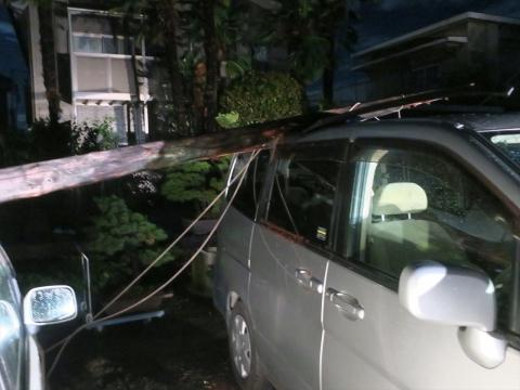 「台風19号被害。鯉のぼり竿が車3台を直撃しました。」① (8)_R