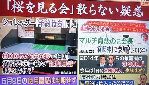 12 テレビ朝日系 桜を見る会 シュレッダー