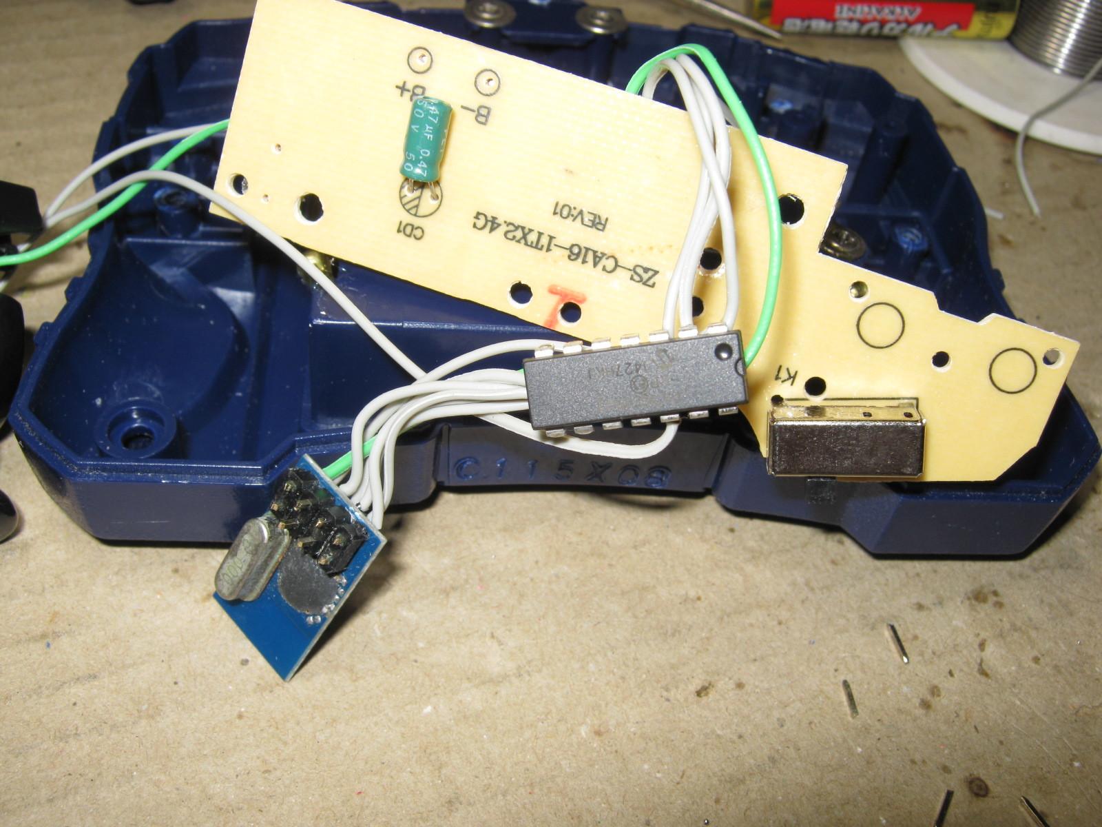 CCP社W-DRIVEプラスの2.4GHzRFモジュール換装コントローラ側換装2