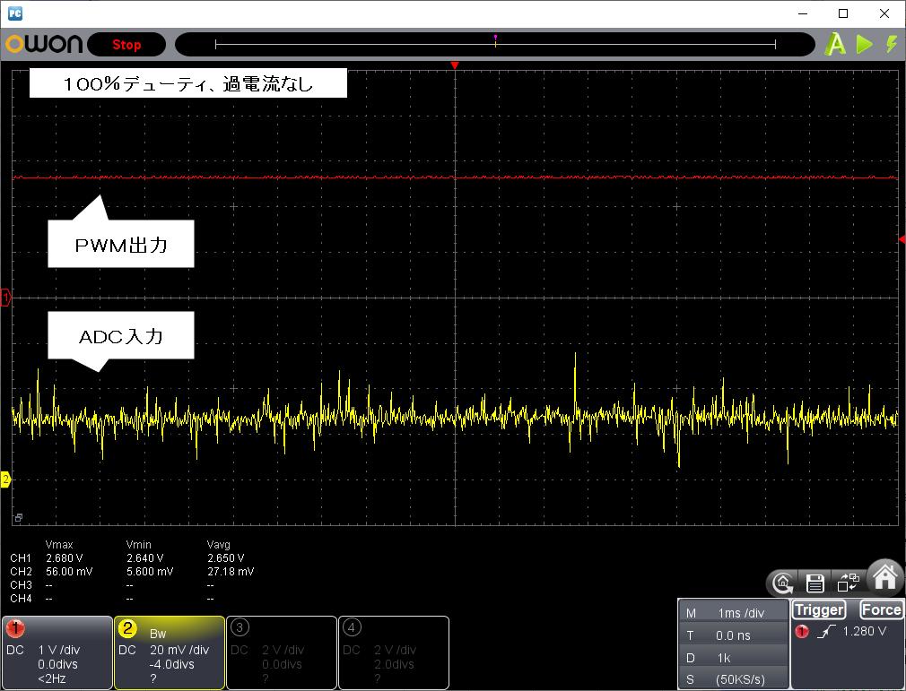2.4GHzラジコン用ファームウェアの改善(過電流保護)100%デューティ、過電流なし