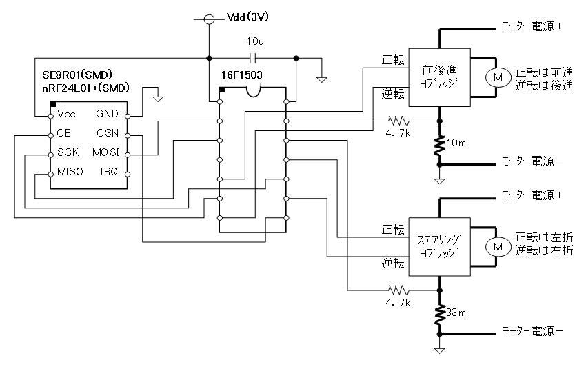 2.4GHzラジコン用ファームウェア(CCP社G-DRIVE/W-DRIVEのデジプロ対応版)換装回路図車体側SMDタイプ)
