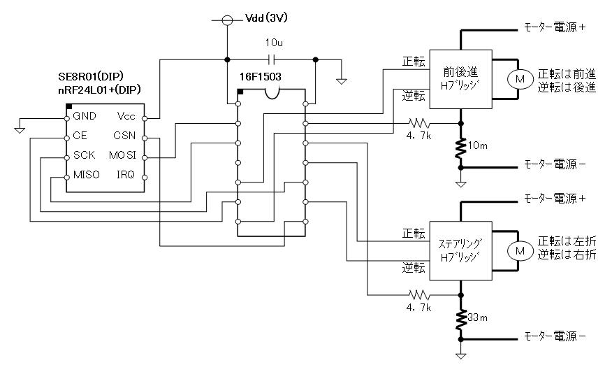 2.4GHzラジコン用ファームウェア(CCP社G-DRIVE/W-DRIVEのデジプロ対応版)換装回路図車体側DIPタイプ)
