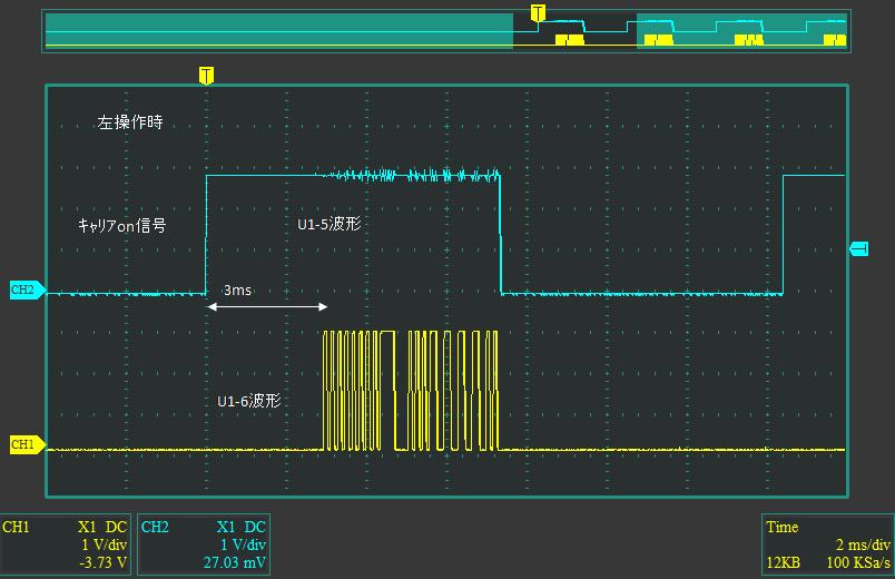 CCP社G-DRIVEecoハマーH3(レガシーバンド超再生式)(マイコン換装)コントローラ換装後波形1