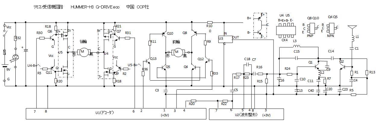 CCP社G-DRIVEecoハマーH3(レガシーバンド超再生式)車体回路図