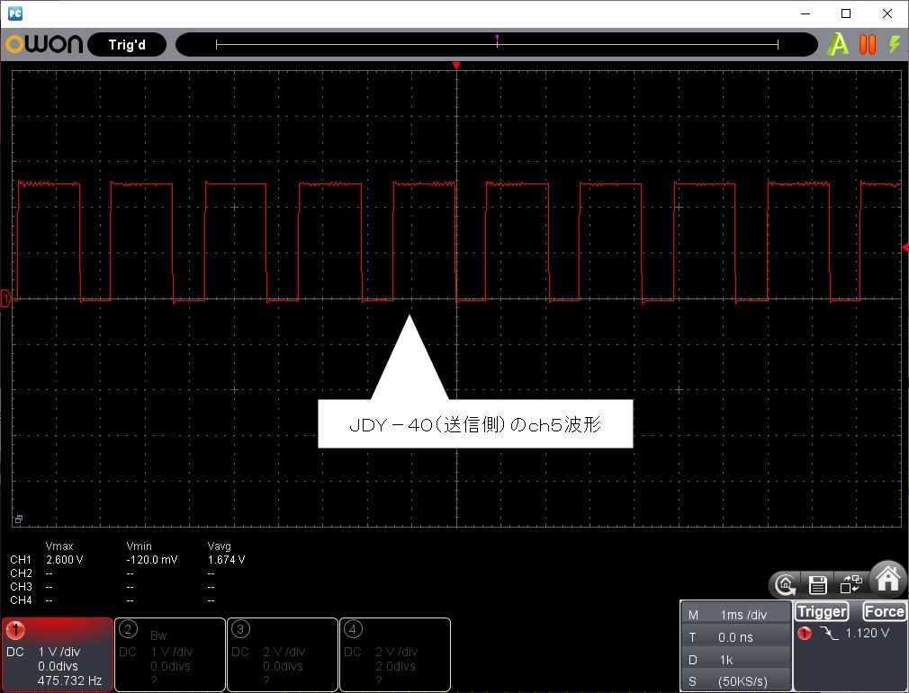 2.4GHz8chリモコンモジュール「JDY-40」の評価(続編2)連打波形1