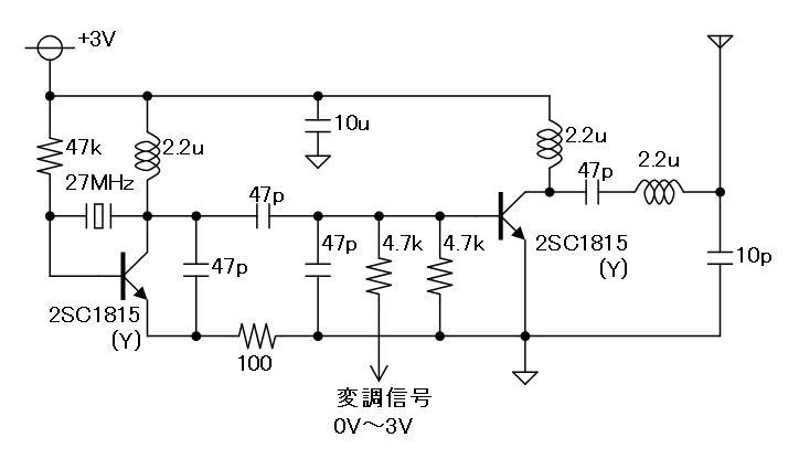 電動乗用ラジコンカー(27MHzTX2コントローラ製作)RF部回路図