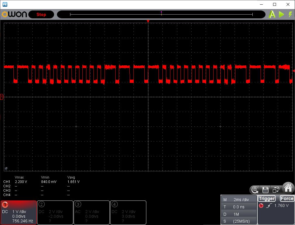 電動乗用ラジコンカー(27MHzTX2コントローラ製作)送信波形後進