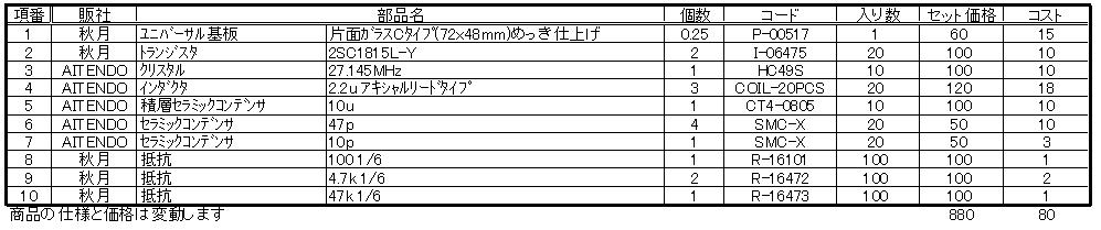 電動乗用ラジコンカー(27MHzTX2コントローラ製作)部品表RF部