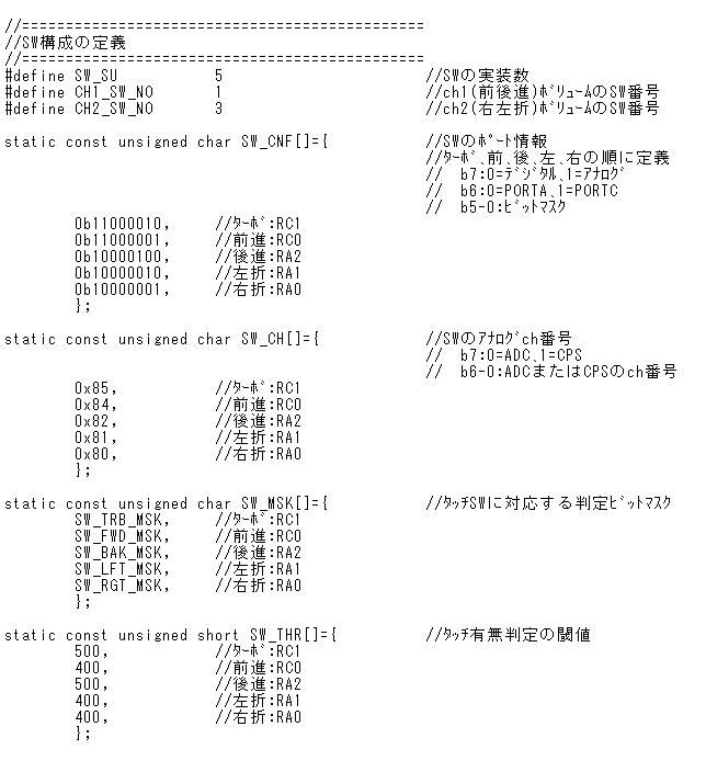2.4GHzラジコン用ファームウェアの改善(タッチSW)SW構成定義