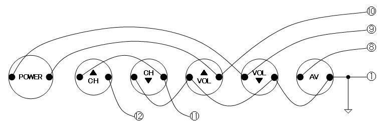 6ボタン学習リモコンのサーフボーイクローンリモコン化改造配線パターン