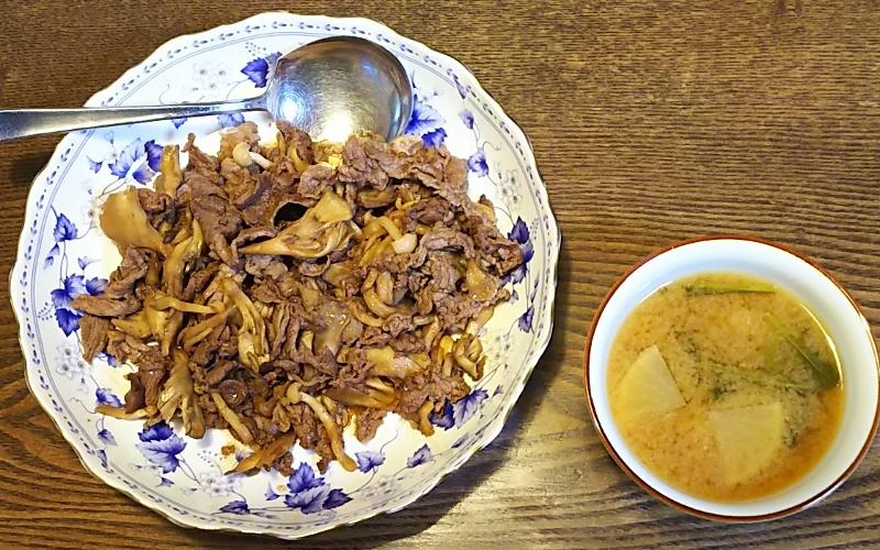肉キノコ炒め+大根みそ汁